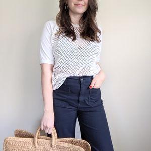 Vtg Cream Knit Net Mesh Sheer Tee Shirt Top M/L